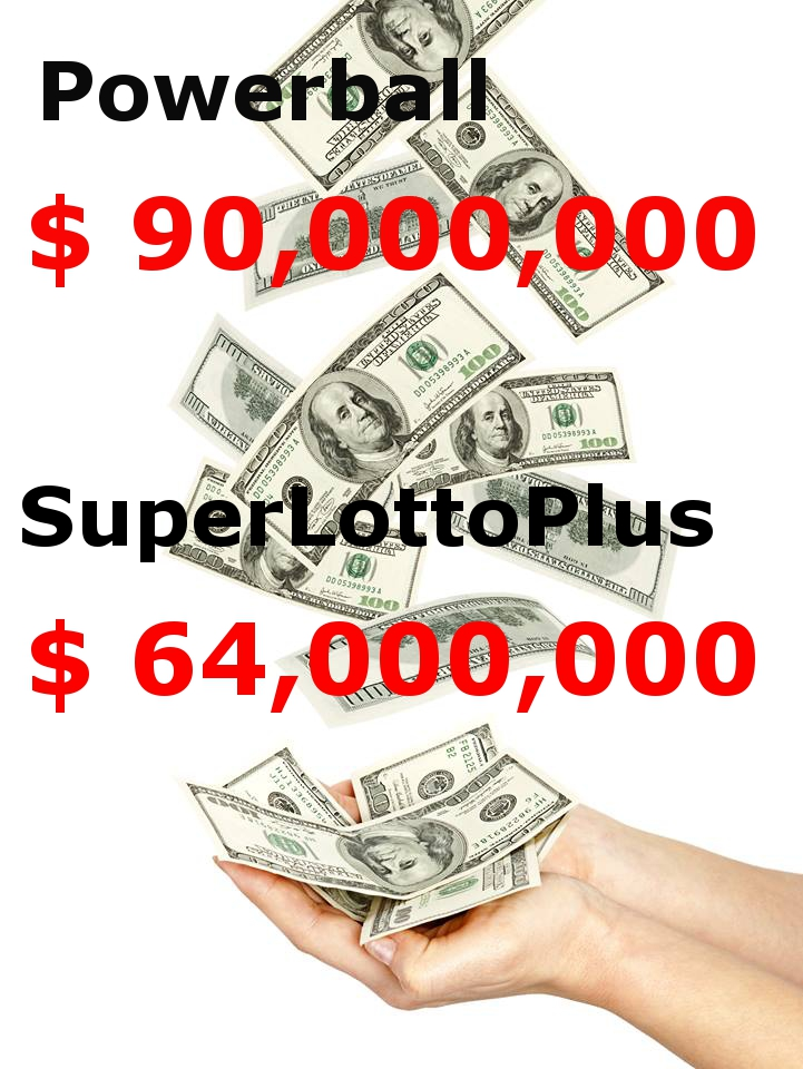 Powerball 90 mil SuperLottoPlus 64 mil